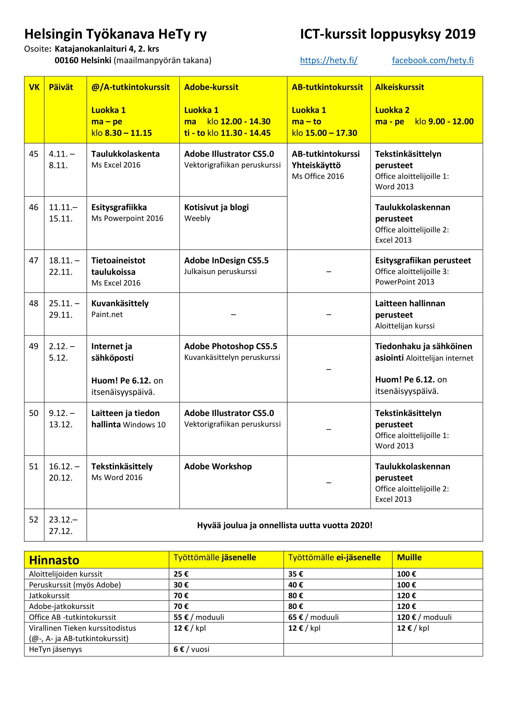 ICT-kurssit 2019 vk 45-52